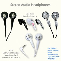 Earbud Plug-In Audio Headphones- Fits All Devices That Use Standard Audio Jack