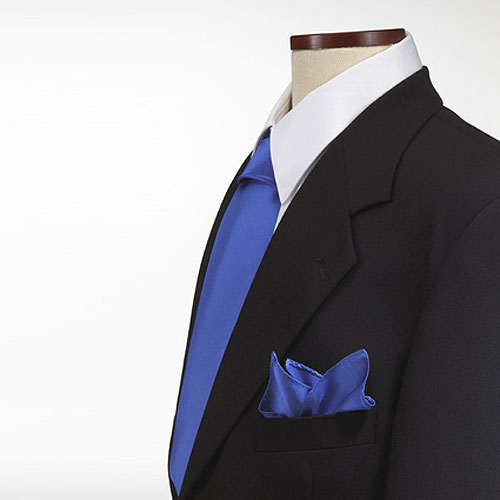 Solid Polyester 10x10 Pocket Square, French Blue