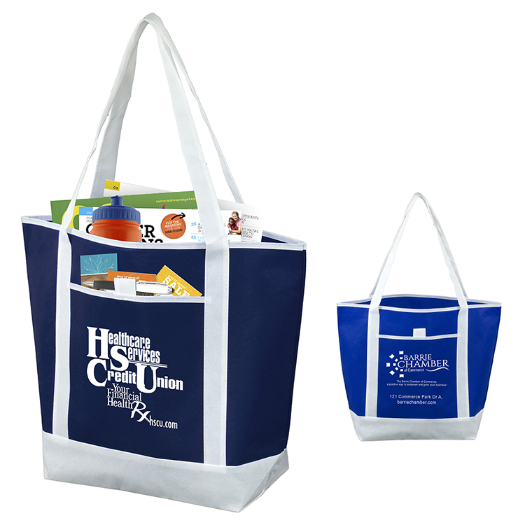 "17-1/2"" W x 13-1/2"" H x 6"" D - 80GSM Non-Woven 'The Liberty"" Beach, Corporate and Travel Tote Bag"