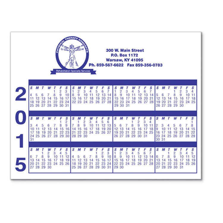 Laminated Card Stock - Small Rectangle Calendar - Full Color