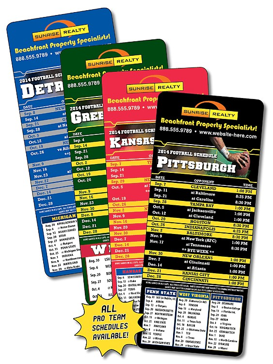 Laminated Football Schedules - 3.5x8.5