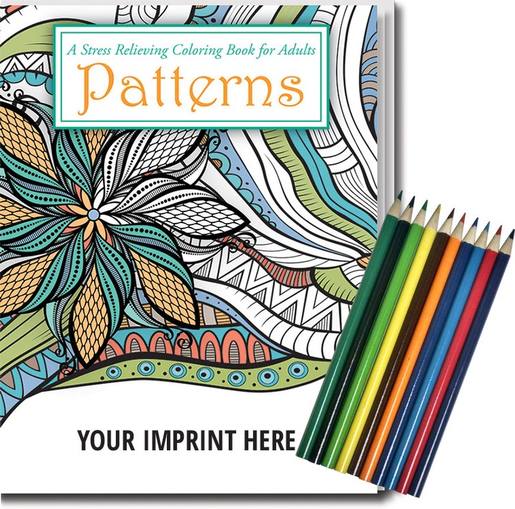ADULT COLORING BOOK RELAX PACK - Patterns Stress Relief Coloring Book with Colored Pencils Set