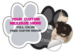 Sticker / Decal - 4.75x4.75 Inch Dog Paw Print Shape - UV Coated Removable Vinyl Misc