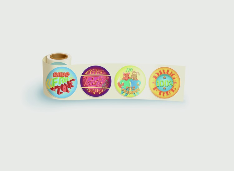 Drug Free Zone - Roll of 200 Fun Stickers