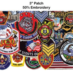 3 Embroidered Patch - 50% Embroidery