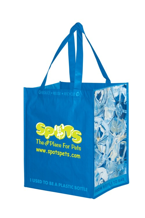 100% Recycled P.E.T. Laminated Bag with Stock Design Gusset Prints