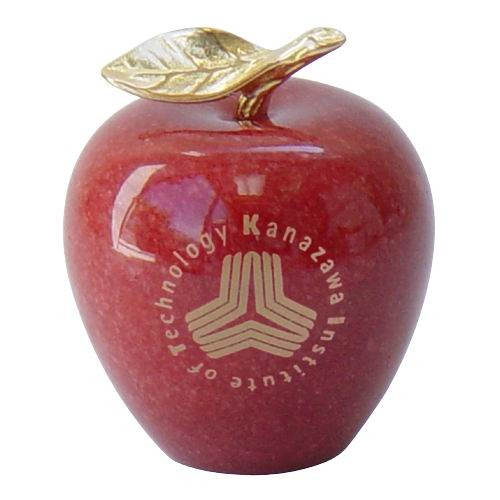 Solid Red Genuine Marble Apple Paperweight w/Gold-Plated Brass Leaf and Stem