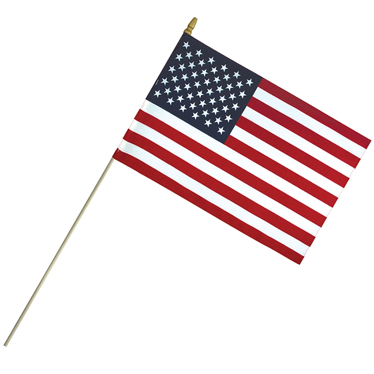 12 x 18 Economy Cotton US Stick Flag with Spear Top on a 30 Dowel