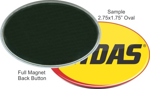 Full Magnet 2 3/4 Inch X 1 3/4 Inch Oval Button