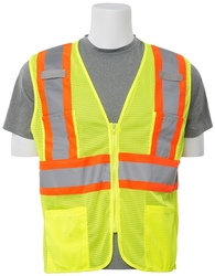 S383P Aware Wear ANSI Class 2 Hi Viz Lime Mesh Vest w/ Zipper (Large)