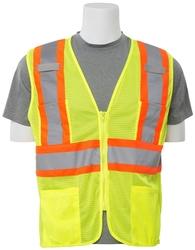 S383P Aware Wear ANSI Class 2 Hi Viz Lime Mesh Vest w/ Zipper (Large)