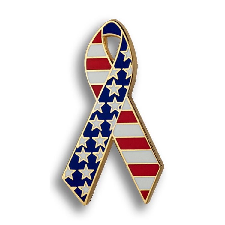 American Flag Ribbon Enamel Lapel Pin