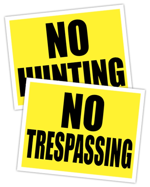 No Hunting No Trespassing Sign - 14 pt Plastic Card with UV Inhibiting Laminate - 8.5x11 2 sided