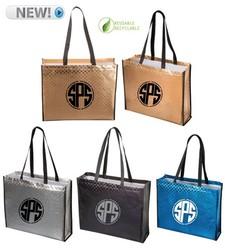 Metallic Shopper Tote Bags - Textured Pattern