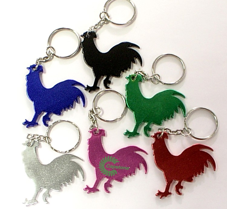 Rooster shape bottle opener with key chain.