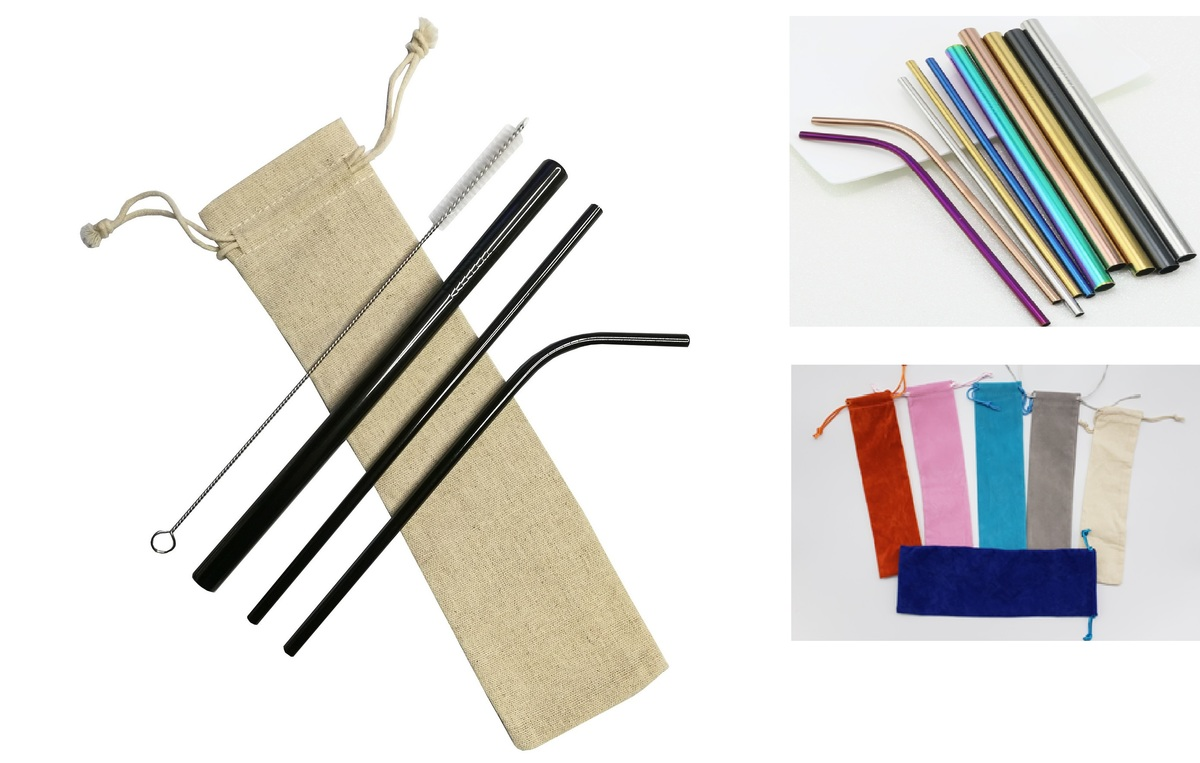 4 pieces set colored Stainless Steel Straws With Cleaning Brush,FREE  SHIPPING!