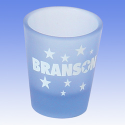 2oz Shot Glass Light Blue Frosted