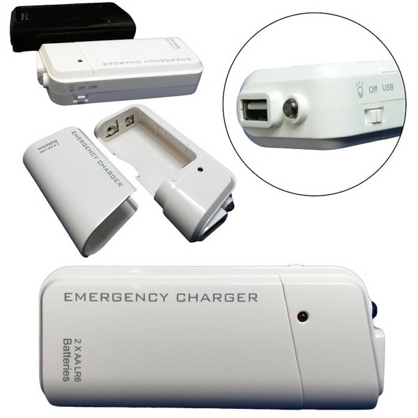 AA Battery Emergency Charger w/ Flashlight