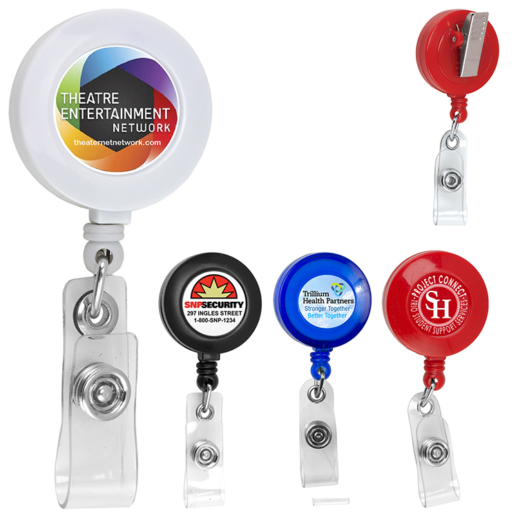 """30"""" Cord Round Retractable Badge Reel with Rotating Alligator Clip Backing and Badge Holder"""