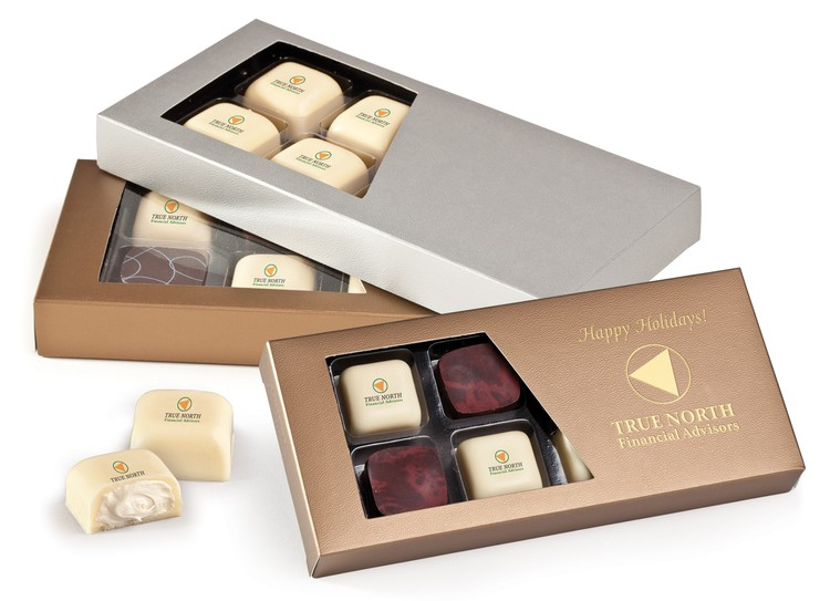 Showcase Window Gift Box w/ Eight Belgian Chocolate Truffles Candy w/ Edible Imprint