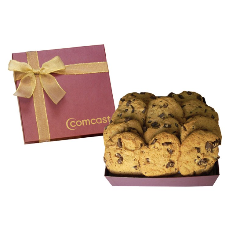 The Chairman Large Chocolate Chip Cookie Box - Burgundy