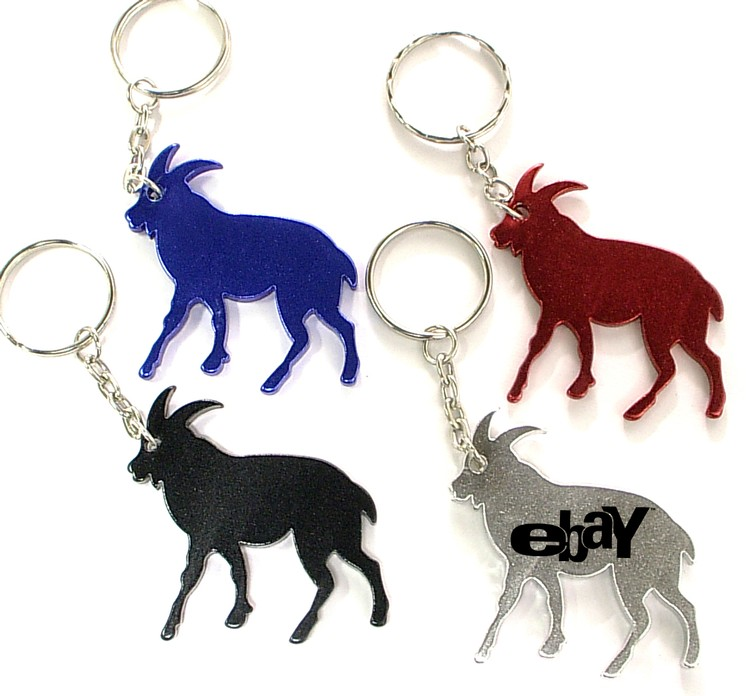 Goat shape bottle opener with key chain.