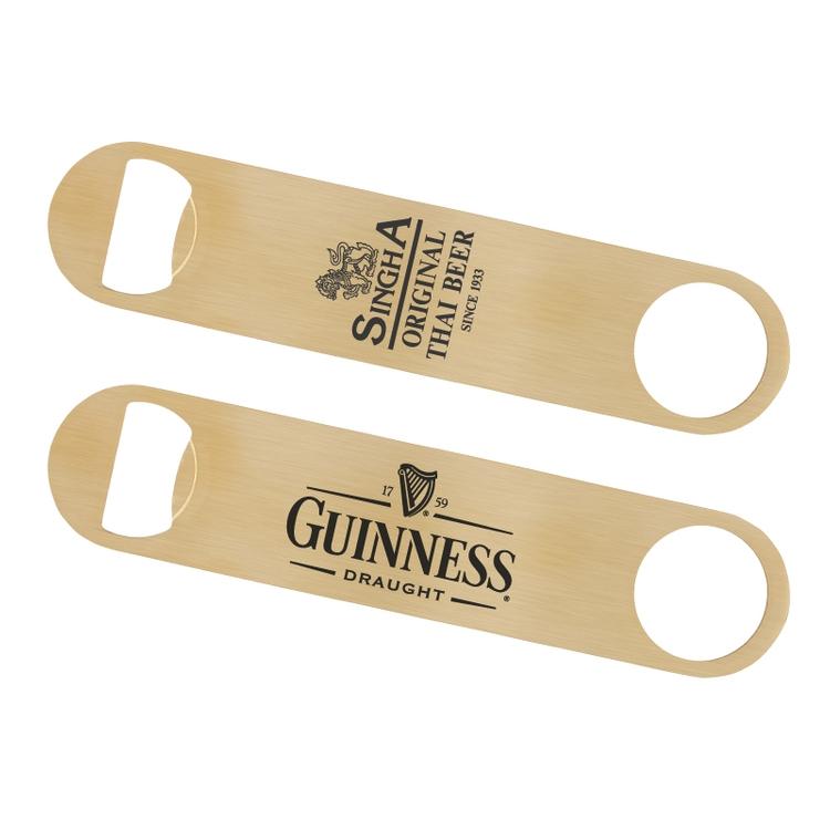 Paddle Style Brushed Gold Bottle Opener