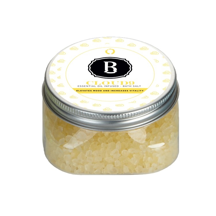 Essential Oil Infused Bath Salts in Square Plastic Jar