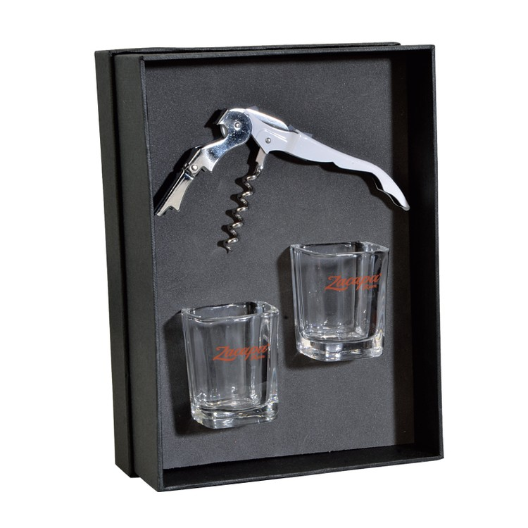 The Lachlan Waiter's Corkscrew and Shot Glass Gift Set