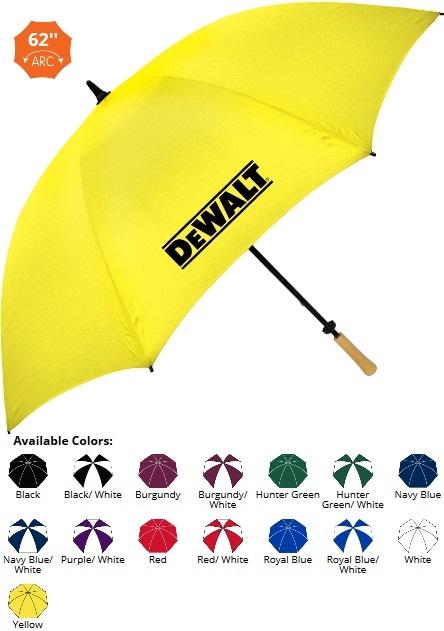 62 Inch Fiberglass Wood-Handle Golf Umbrella SALE - NOW ONLY $11.99 Until June 30th!