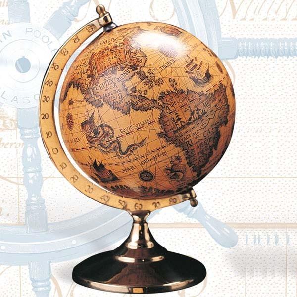 Globe with Brass Swivel Stand
