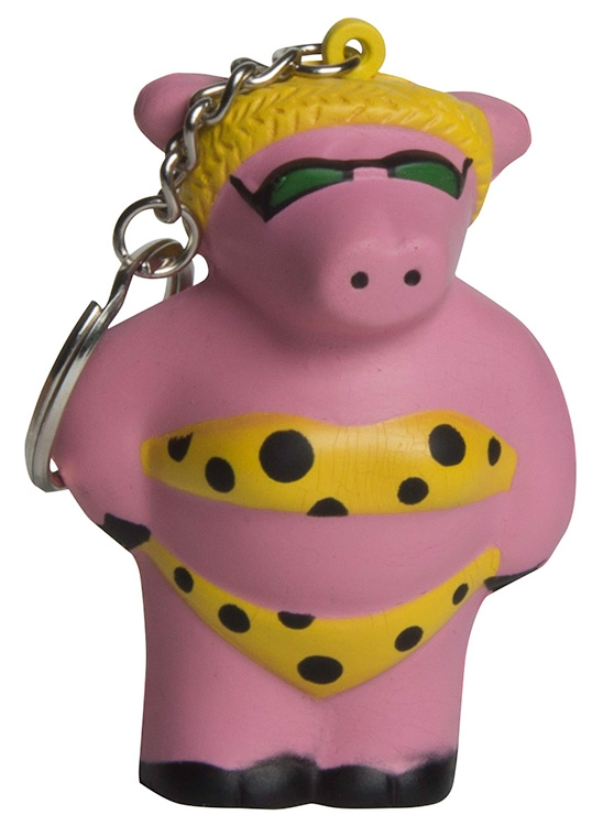 Cool Beach Pig Squeezies Keyring Stress Reliever