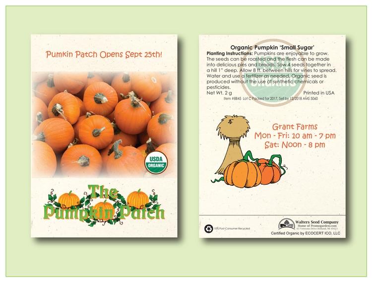 Organic Pumpkin 'Sugar Pie' Seed Packet - Imprinted Seed Packet
