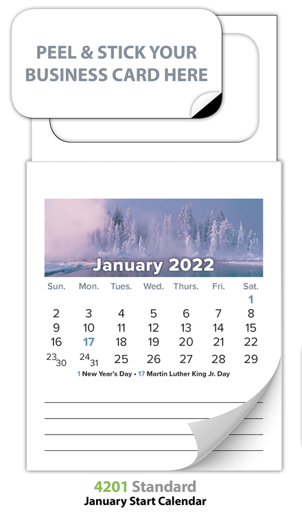 Magnetic Standard 12-Month Calendar (MBC) - Jan. 2018 w/Cover