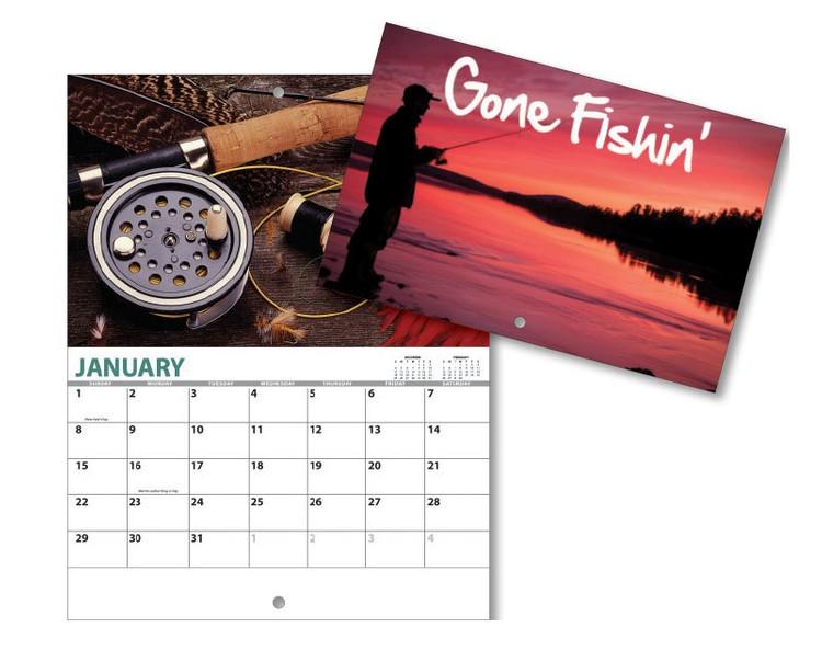 13 Month Mini Custom Photo Appointment Wall Calendar - GONE FISHING