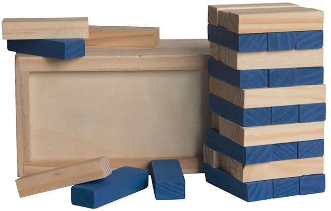 Blue Colored Block Wooden Tower Puzzle