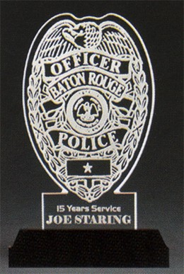 Crime-Stoppers Police Badge Award-Clear Acrylic
