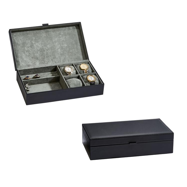 Elegant Black Leather Jewelry Box 12 L
