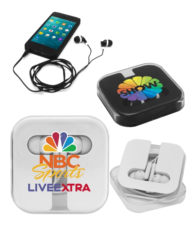 Earbuds with Hard Plastic Case - Full Color
