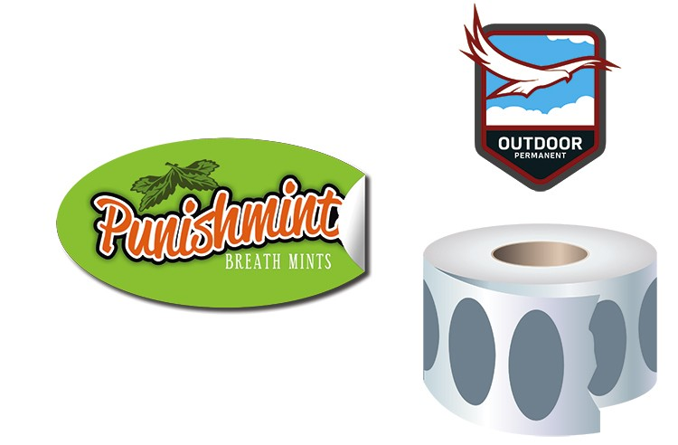 Roll Stickers / Decal - Outdoor Permanent - 2x1 Oval Shape