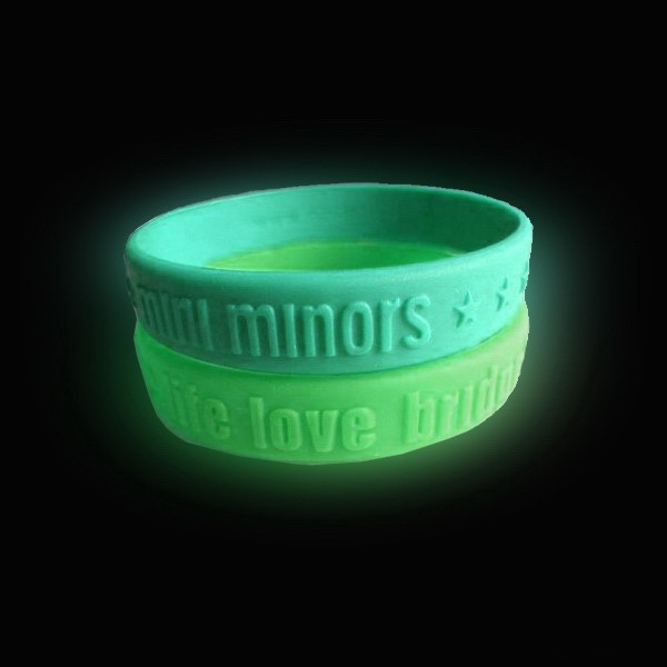 1/2 Inch Glow In The Dark Embossed Wristbands
