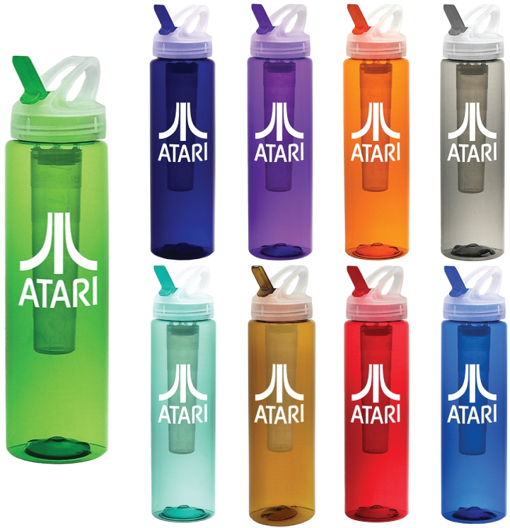 32 oz PET Translucent Sports Water Bottle with Ice Chill'r and Flip Top Lid