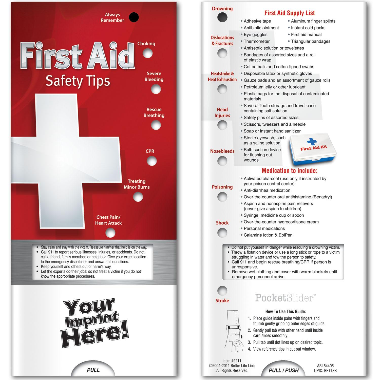Pocket Slider - First Aid: Safety Tips