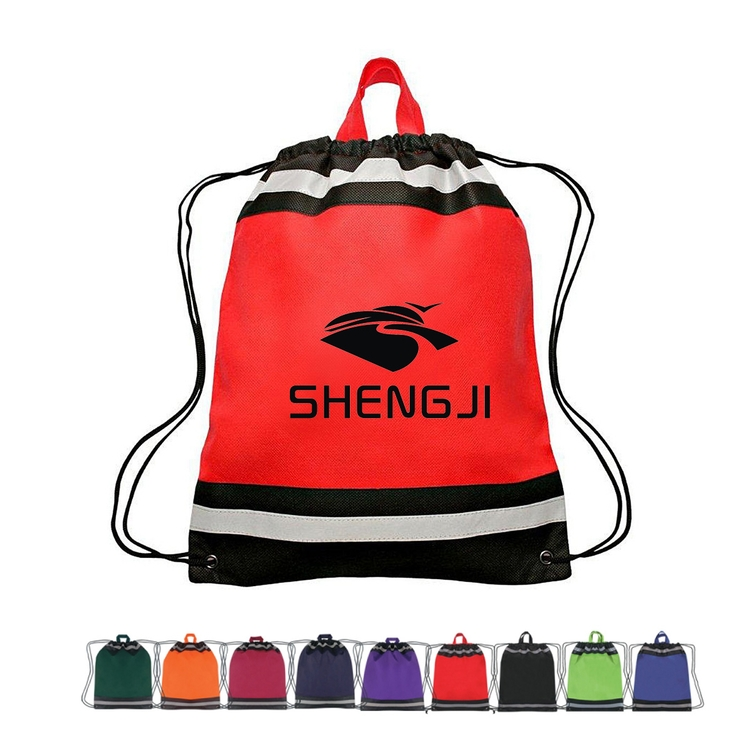 SM00094 - Non Woven Hunting Reflective Drawstring Backpack Bag With 1 Stripes