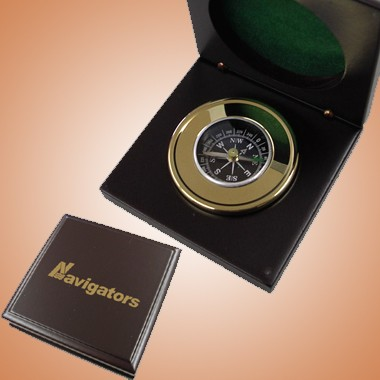 Brass Compass in Wooden Rosewood Box