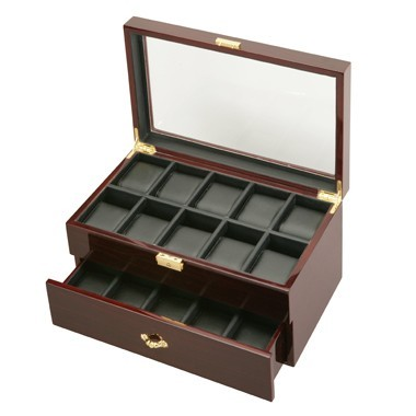 Ebony See Through 20 Watch Case - Clear Top