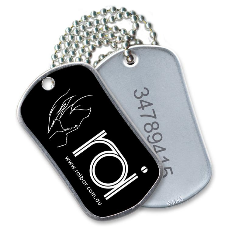"""Stainless Steel Serialized Dog Tag, Full Color Front, Laser Etched  Serial#Reverse, 30"""" Neck Chain,"""
