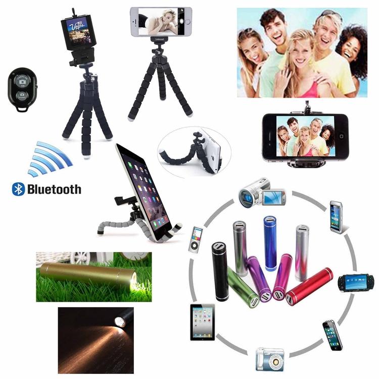 iBank® 3,200 mAh Power Bank + Flashlight + Selfie Tripod + Bluetooth Shutter