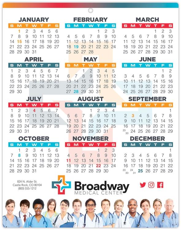 Healthcare Laminated Calendar Card - 8.5x11