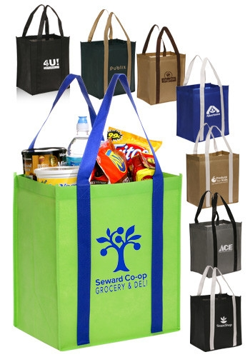 Dual Tone Non-Woven Grocery Tote Bag - 12 W x 14 H
